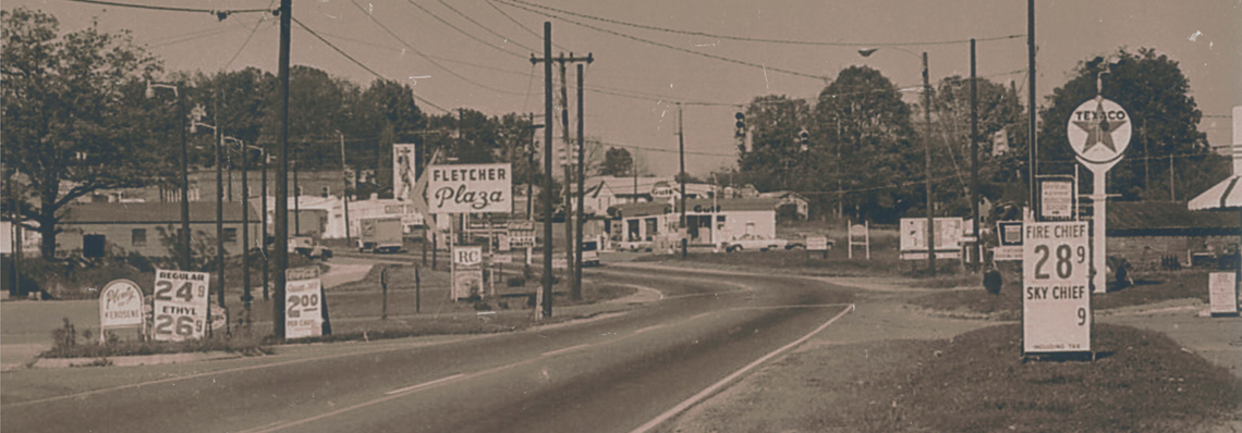 Fletcher NC Fall 1968; Fletcher Plaza; Texaco; Gulf; Gas is 28.9 cents a gallon